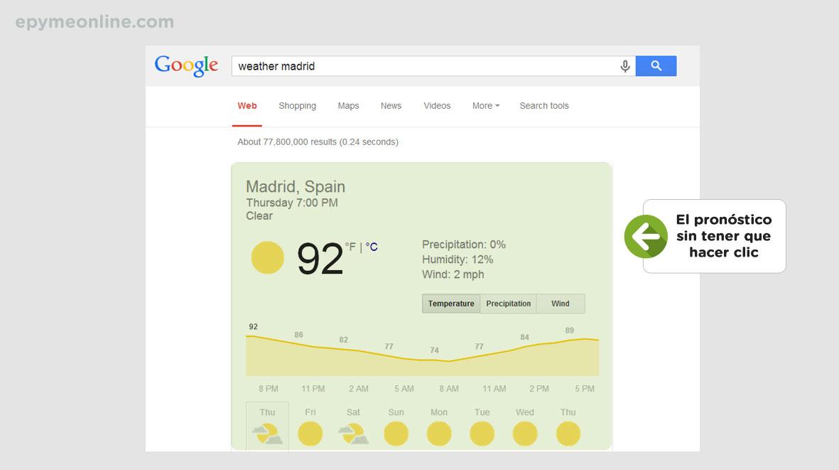 El clima en el buscador de Google