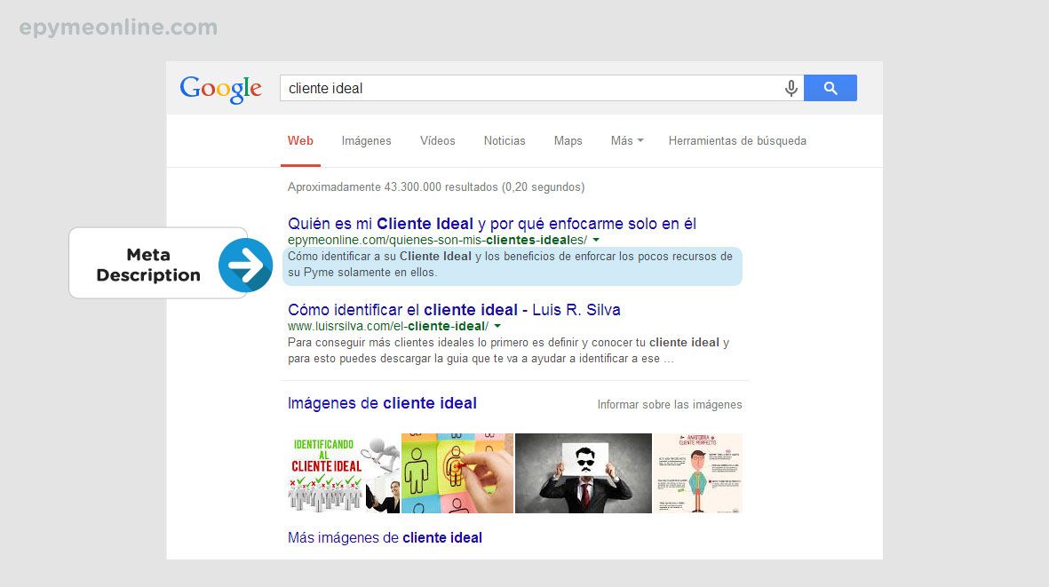 Meta Description en la página de resultados de Google