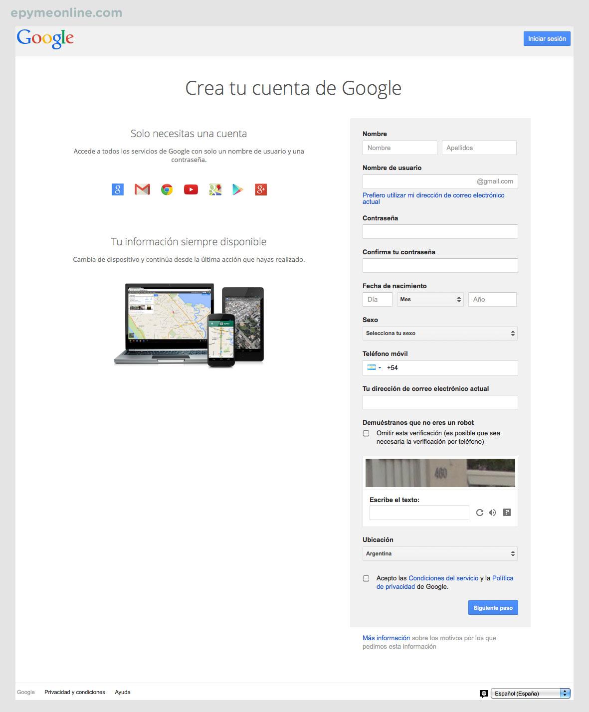 Formulario cuenta de Google