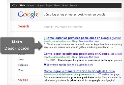 Meta description en los resultados de Google