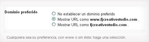 Preferencia de dominio en Webmaster Tools