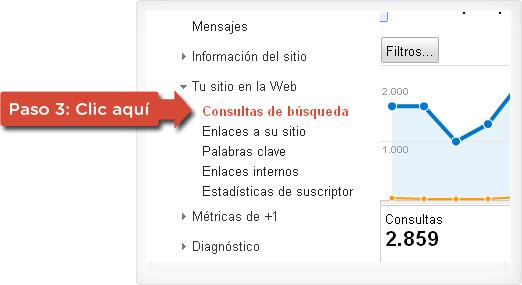 Consultas de búsqueda en Webmaster Tools