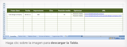 Excel con listado de frases claves