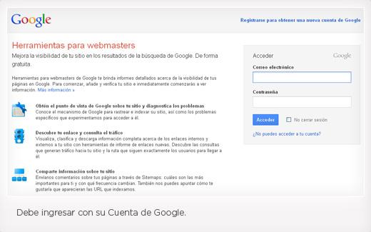 Paso 1 para instalar Google Webmaster Tool