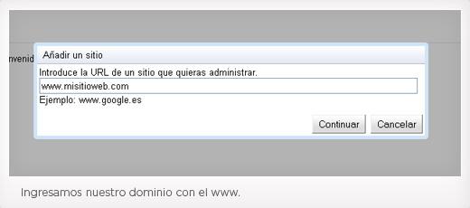 Paso 2 de Instalación Webmaster Tools
