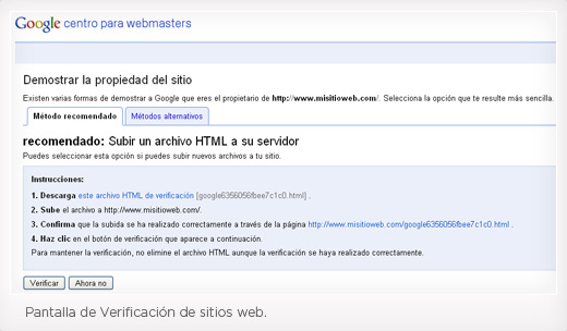 Paso 3 de Instalación Google Webmaster Tools