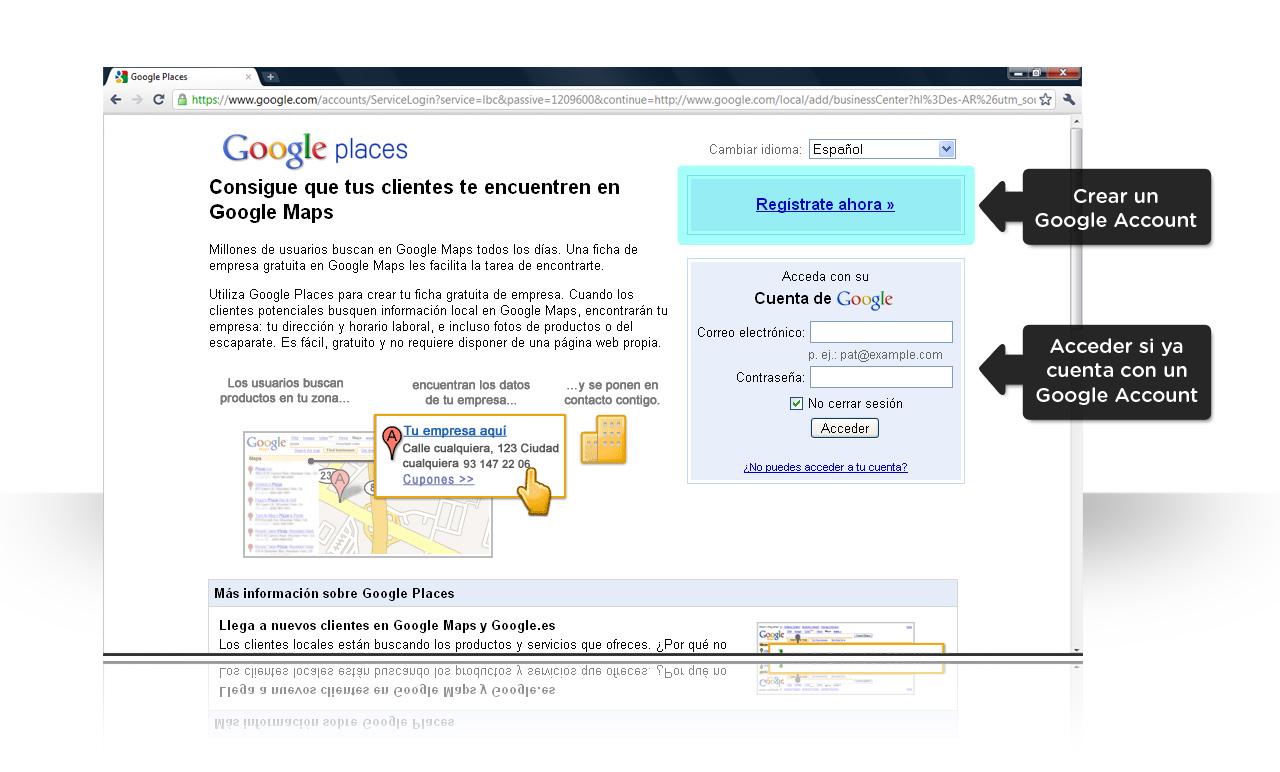 Google Places, ingresar