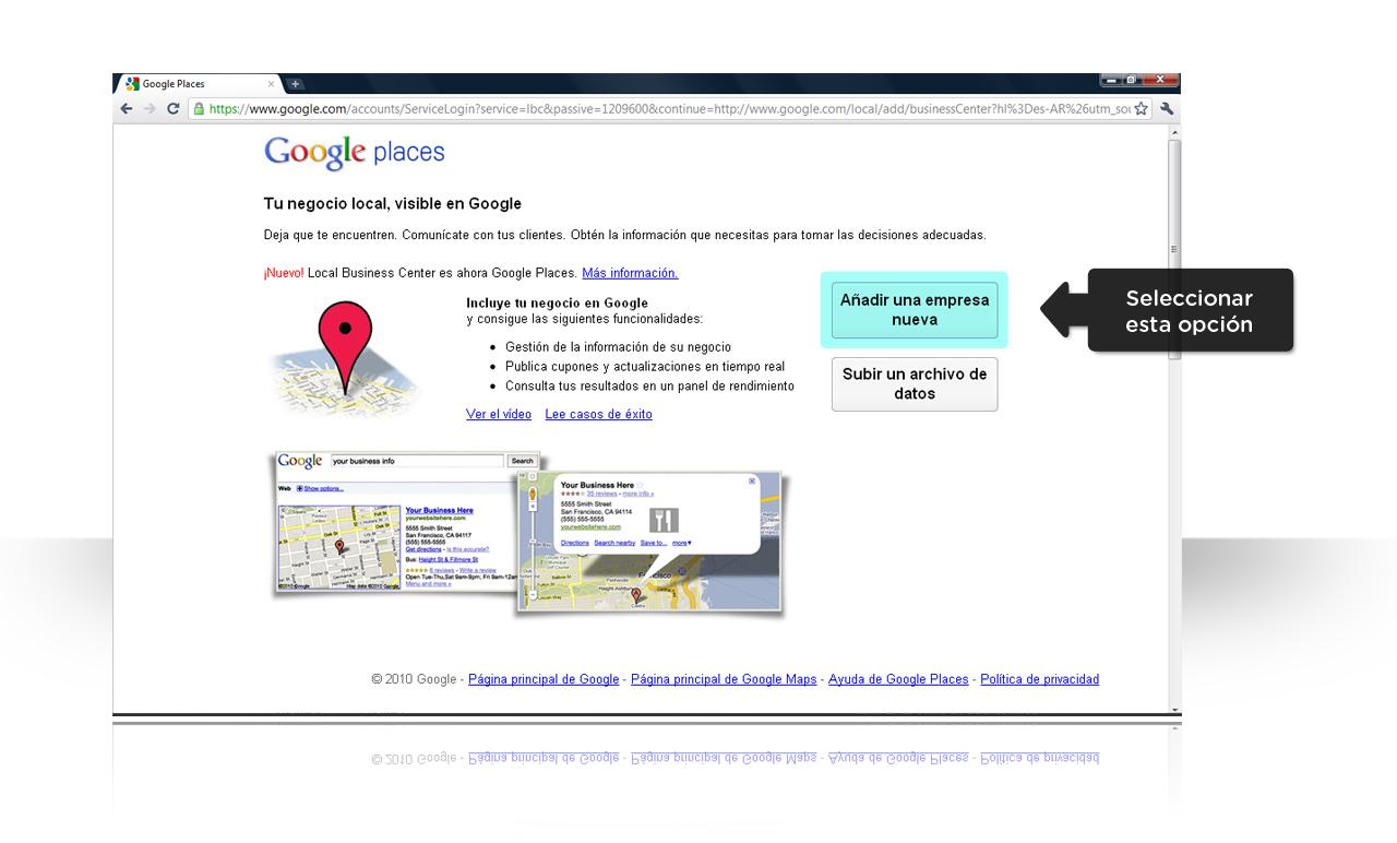 Google Places, agregar empresa