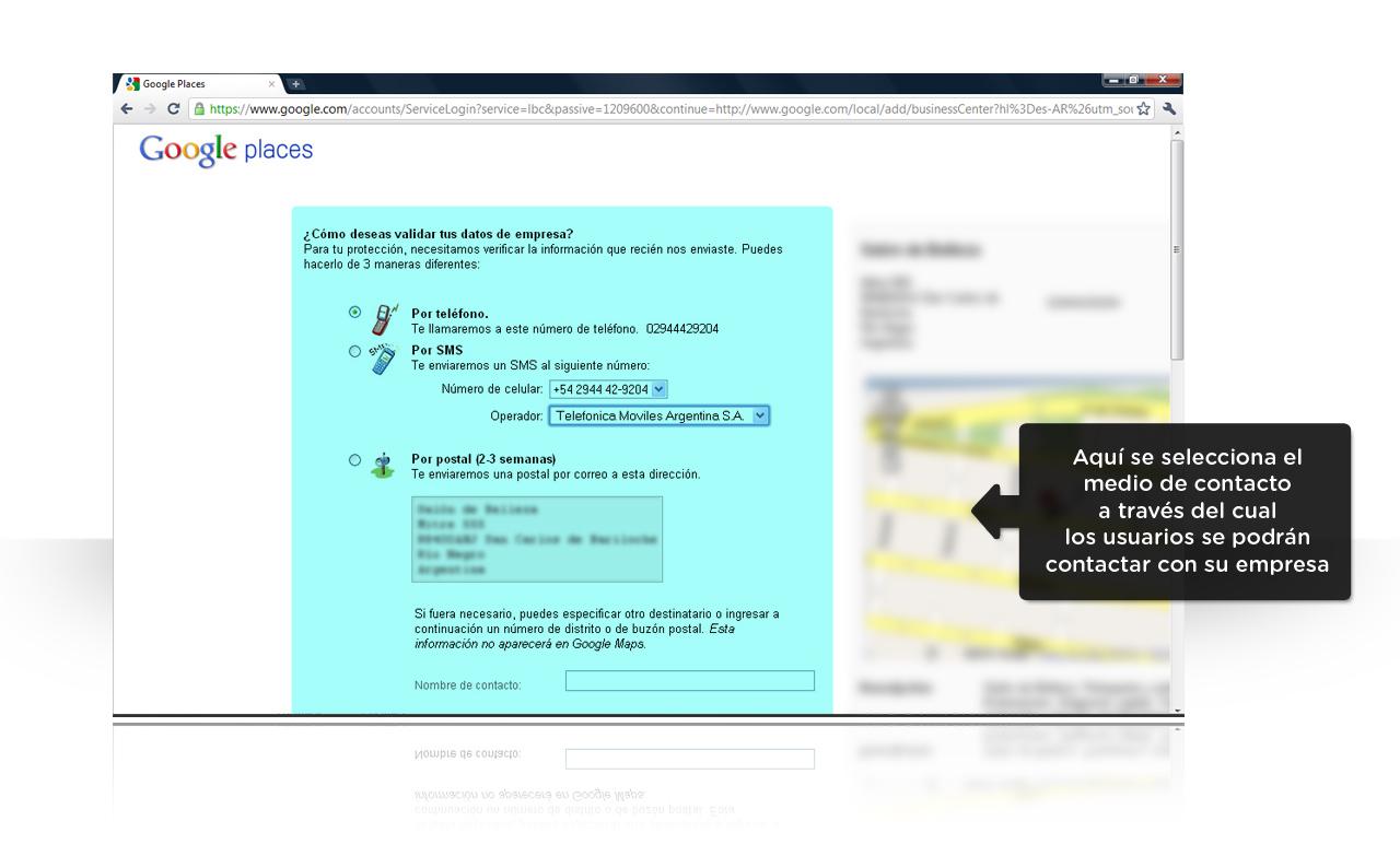 Google Places - Verificación de los datos de la empresa