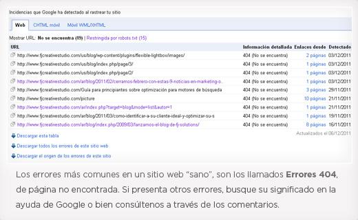 Errores de rastreo más comunes en un sitio web