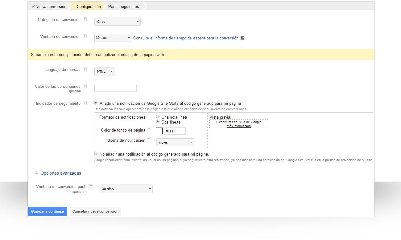Configuración dels eguimiento de conversiones de AdWords