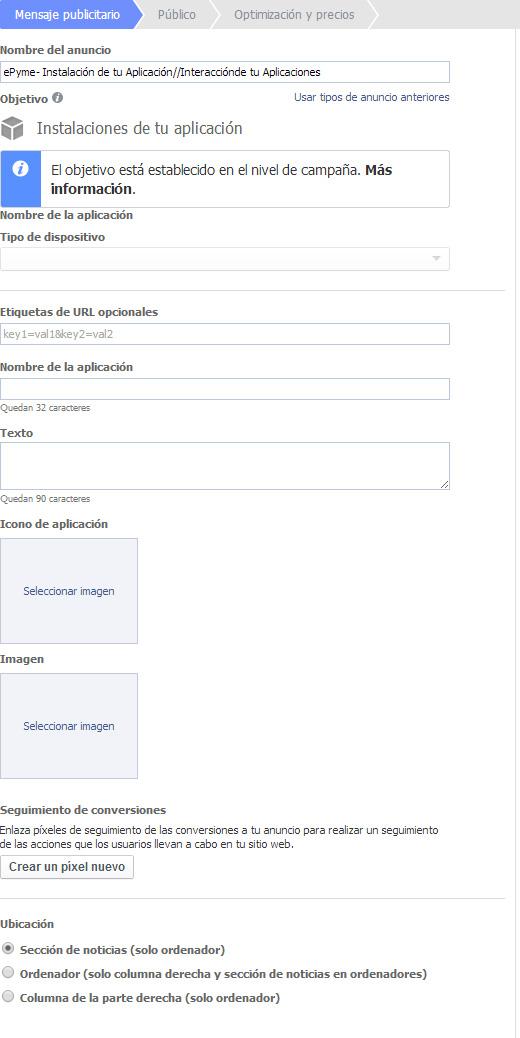 Promoción de aplicaciones en Facebook