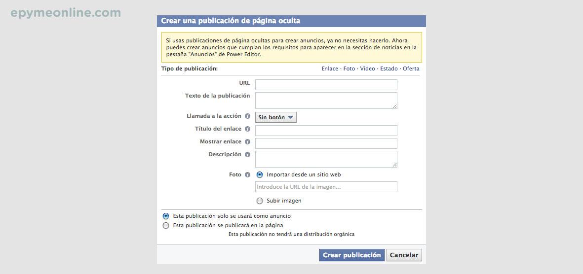 Crear publicación en Facebook con el power editor