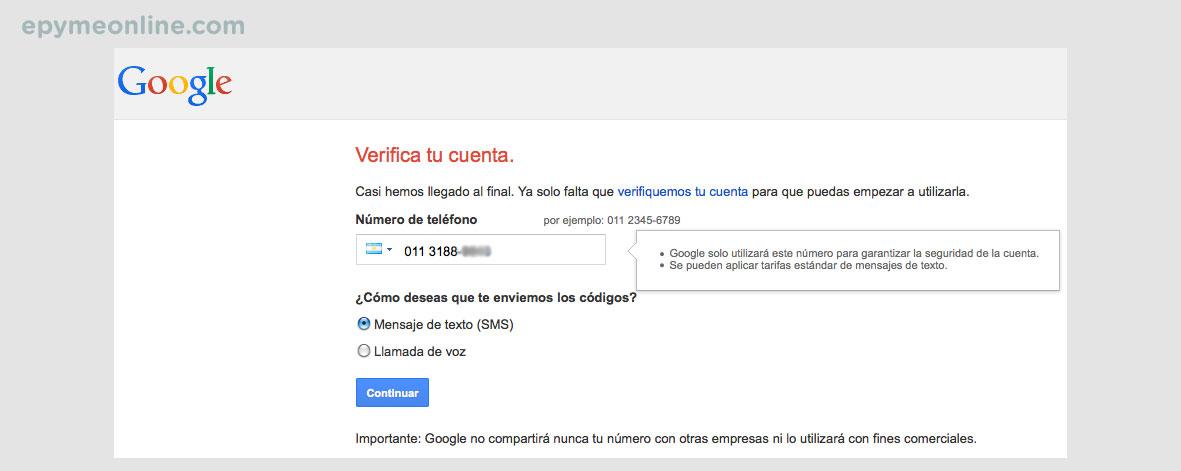 Verificación cuenta de Google