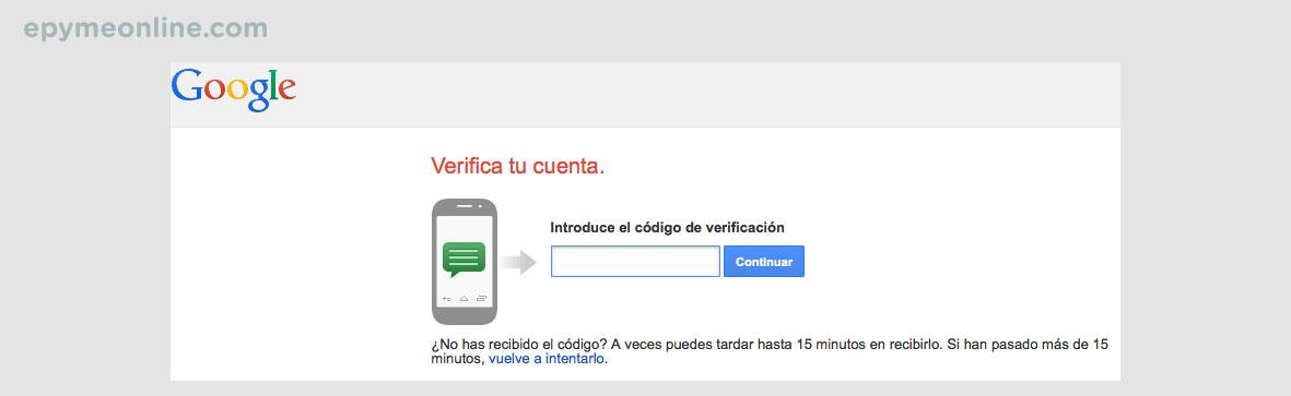 Verificación cuenta de Google 2