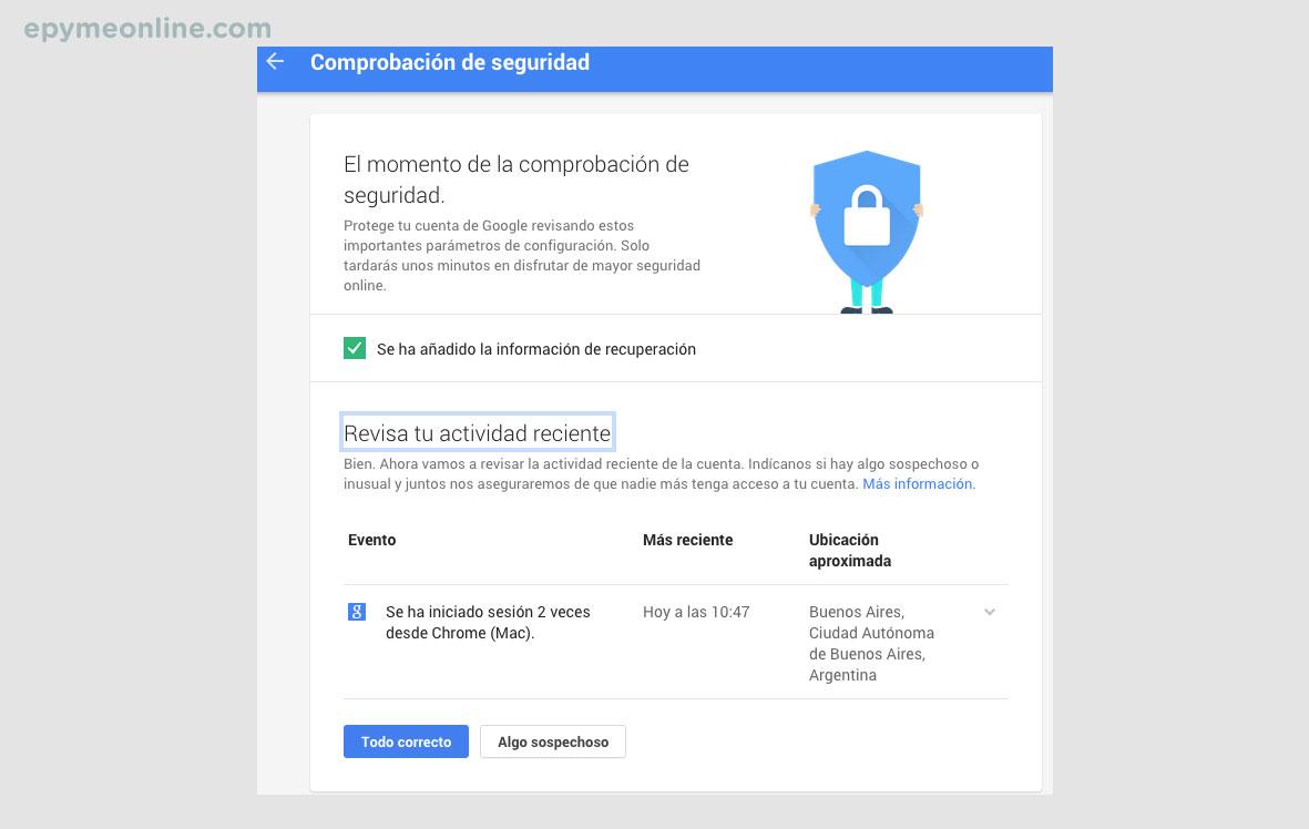 Comprobación de seguridad cuenta de Gmail