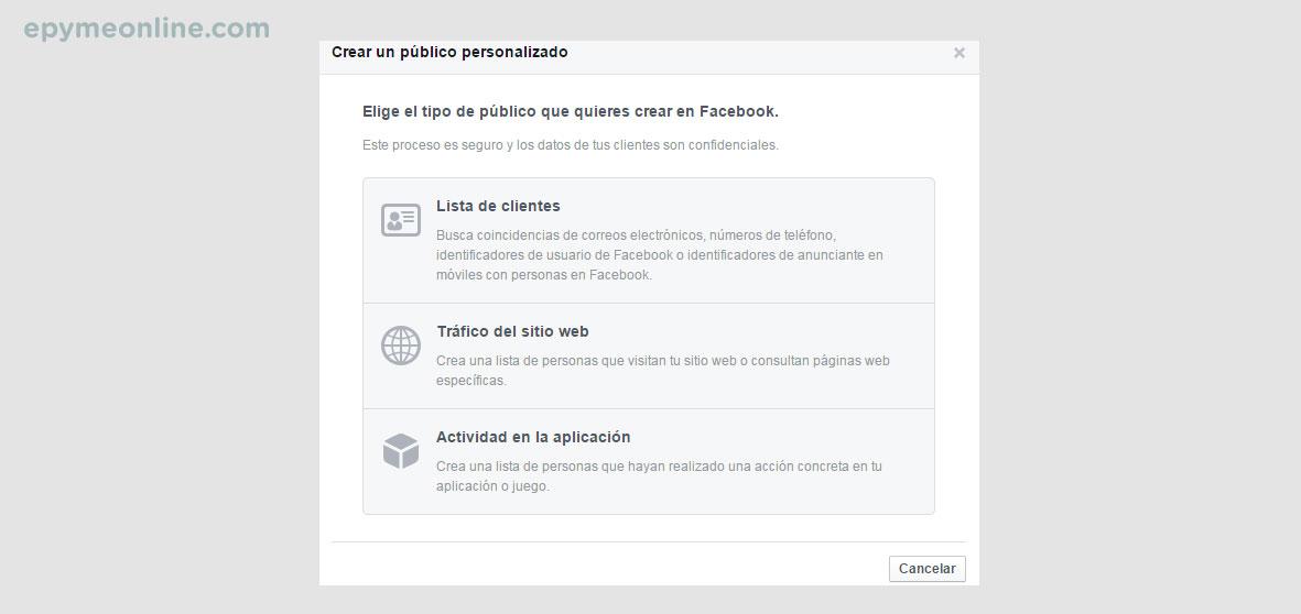 Público personalizado de Facebook