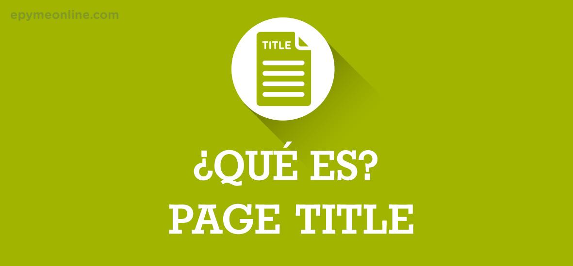 Qué es Page Title