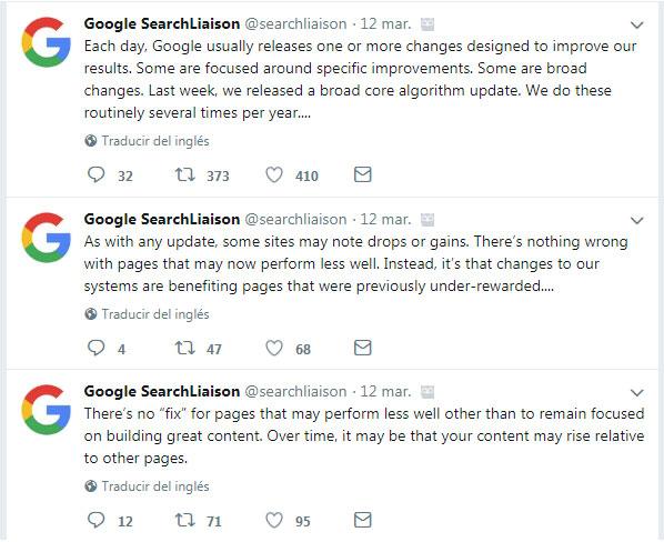Actualización algortimo de Google marzo 2018