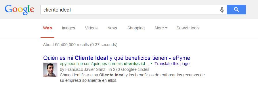 Resultados con foto de autor en Google en castellano