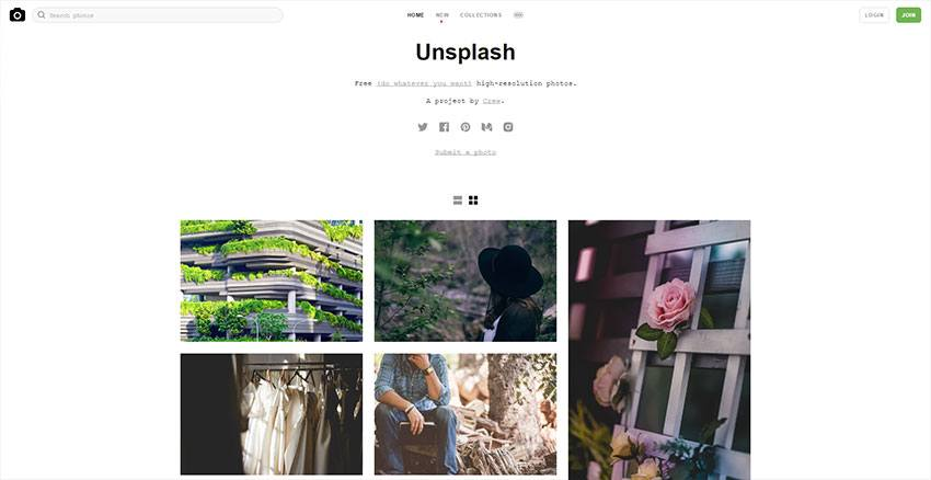 Unsplash - Best and most complete image banks