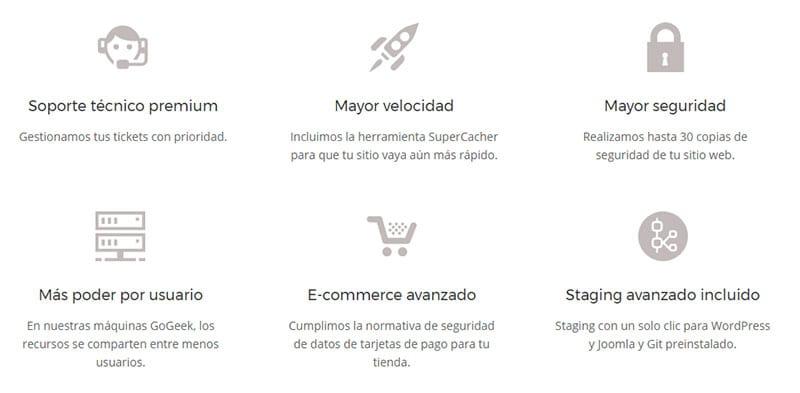 Características para WordPress de Siteground