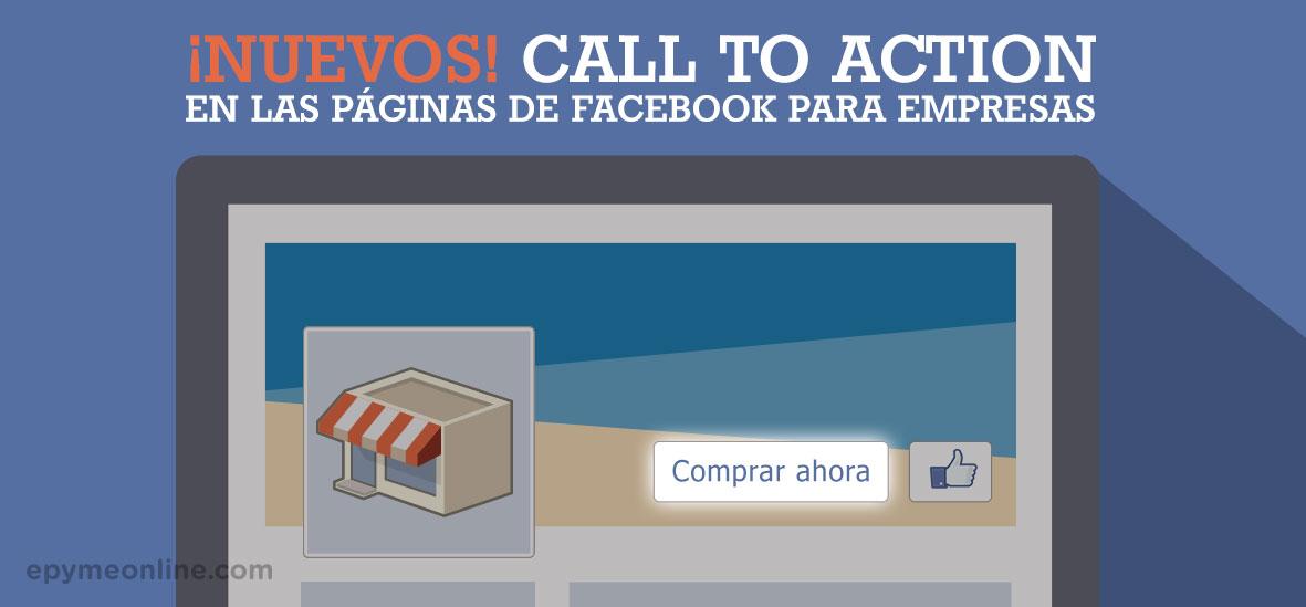 Nuevos call to action (CTA) en las páginas de Facebook para empresas
