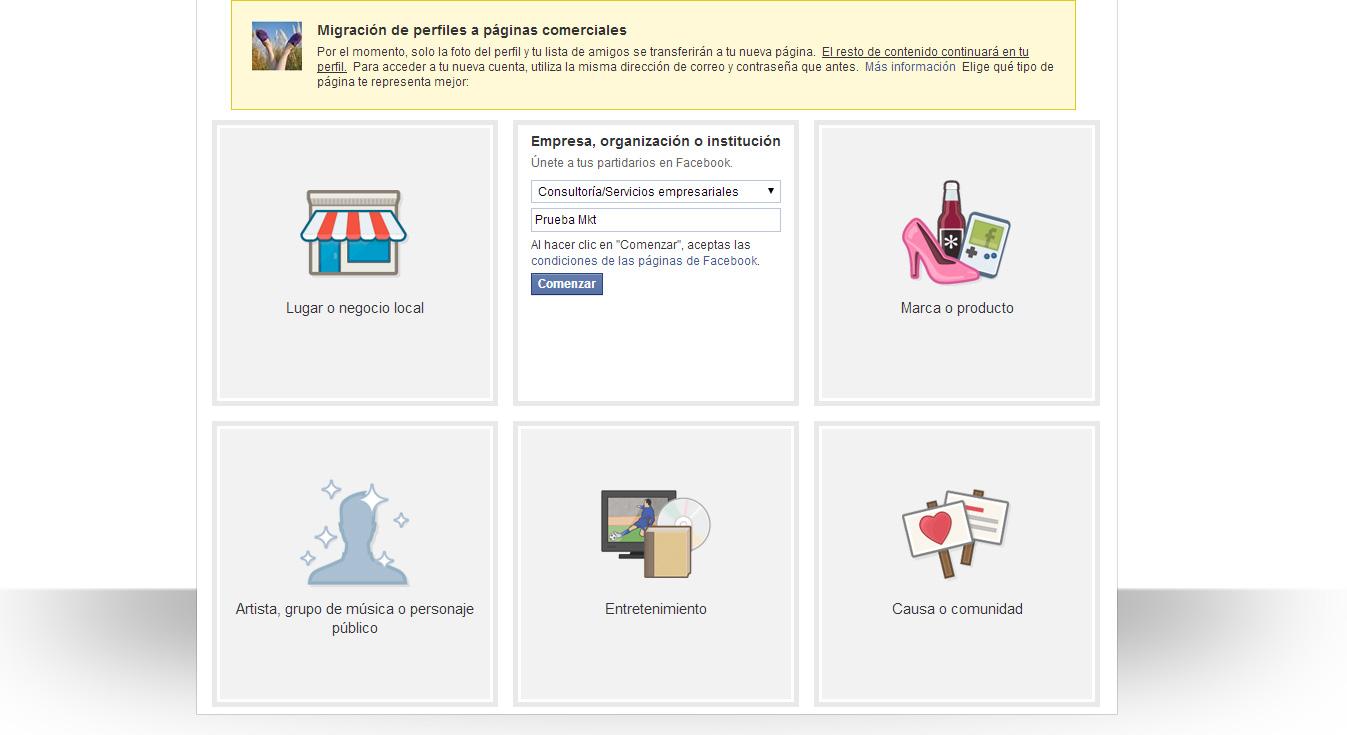 migración de perfil a página de Facebook