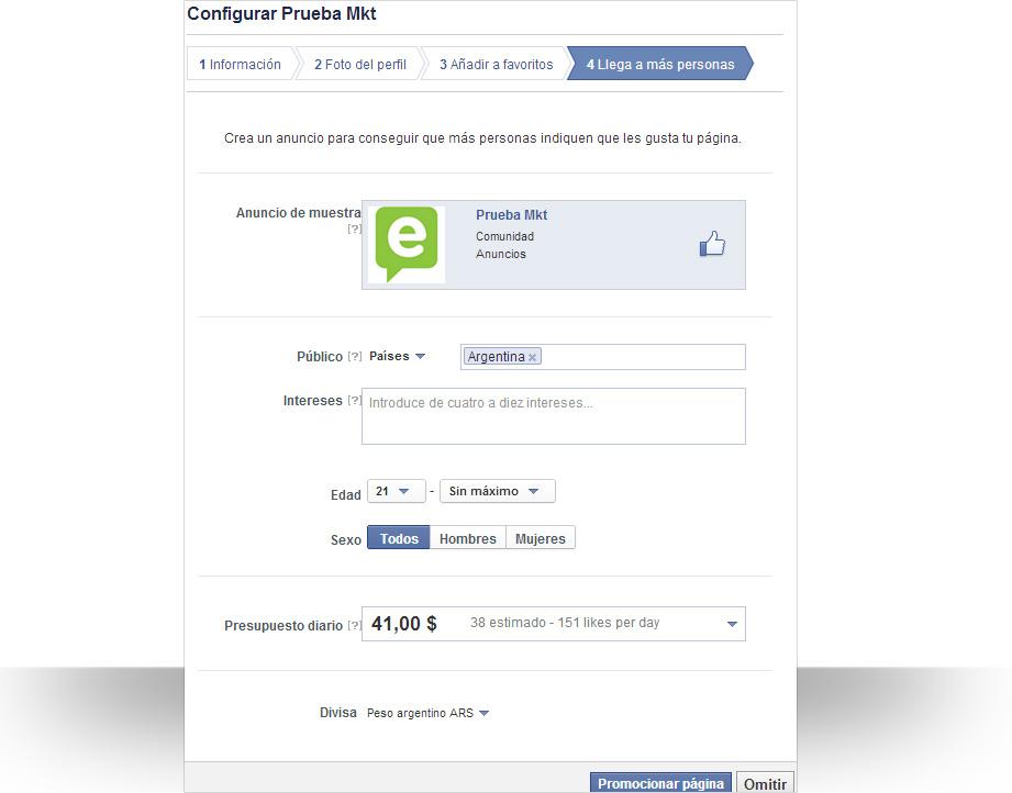 Configuración de una página de Facebook