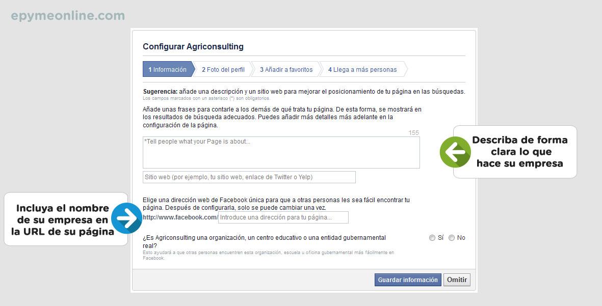 Información de las páginas de empresa en Facebook