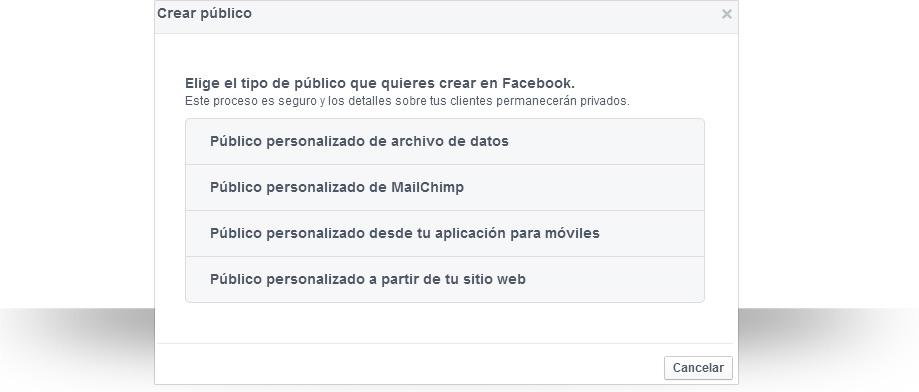 Públicos personalizados de Facebook