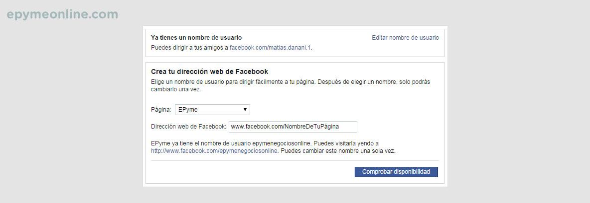 Cambio de URL de las páginas de Facebook