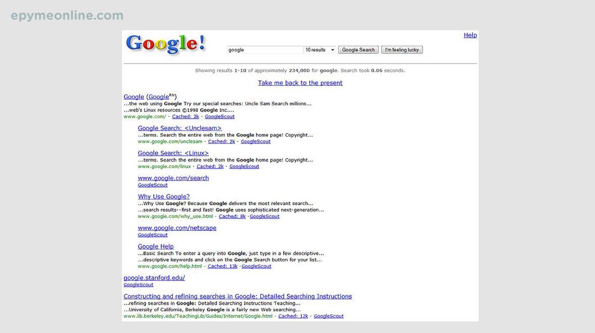 Resultados de búsqueda de Google en 2004
